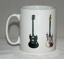 Electric Guitar Mug. 5 Famous rock guitars. SG, Fender, Epiphone, Gibson