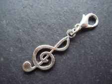 Silver treble clef music clip on charm Tibetan style