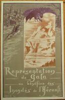 French Prometheus Opera Program, 1907 Flood Benefit Gala, Betout/Artist-Signed