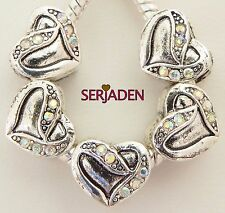 5 Iridescent Stone Heart Charms Fits European Jewelry 11 * 10 & 5 mm Hole   R212