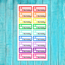 18 COLORFUL BIRTHDAY REMINDER STICKERS FOR ERIN CONDREN PLANNER OR CALENDAR