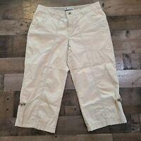 Columbia Beige Adult Womens Size 6 Regular Flat Front Straight Leg Capri Pants