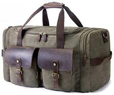 Kemy's Canvas Travel Duffle Bag Oversized Genuine Leather Weekend Bags