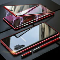 For Samsung Note 10 Plus S10 S9 Magnetic Metal Case Double Tempered Glass Cover