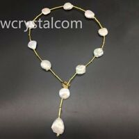 Outstanding Luster Coin  Keshi Baroque Cream KASUMI PEARL Choker Collar Necklace