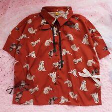 # Vintage Red Bowknot Fabric shirt Cute Dog Harajuku Chiffon Blouse Lolita Tops
