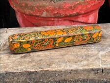 Antique Old Wooden Hand Carved Floral Painted Beautiful Kalamdan Pen Box Rare