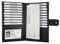 Black Leather Checkbook Long Secretary Wallet 19 Credit Card Organizer