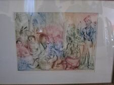 "Vladimir Szabo etching in colors ""Going to Market"" 1961. Very good condition,"