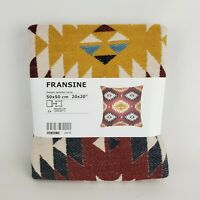 "Ikea Fransine Pillow Cushion Cover Jacquard Wool Blend 20x20"" Multicolor Aztec"