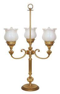 Sehr elegante Jugendstil Bouilotte Tischlampe dreiarmig Messing Rosen Blüten