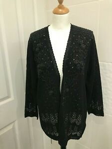 Affections Vintage Sequin Cardigan with Embellishments L