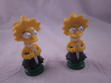 TWO (2) Vintage SIMPSONS 3D Chess Pieces GREEN LISA BISHOP Figure Toy 1992