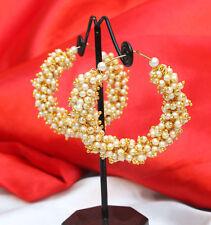 Indian Bollywood Antique Gold Tone Pearl Bali Jhumka Jhumki Hoop Earring Jewelry