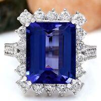 10.44 Carat Natural Tanzanite 14K Solid White Gold Diamond Ring