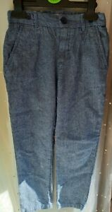 BOYS SIZE 7-8 YEARS BLUE LINEN STYLE SMART TROUSERS GOOD CONDITION