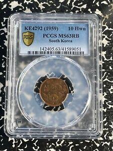 KE 4292 (1959) Korea 10 Won PCGS MS63 Red Brown Lot#A120 Choice UNC!