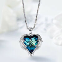 Angel Wings Heart Crystal Pendant Necklace With Swarovski Crystals Jewelry