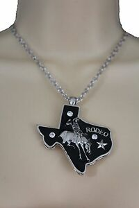 Women Silver Long Fashion Jewelry Necklace Texas State Horse Rodeo + Earring Set
