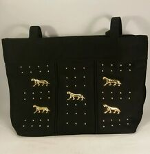 Modern Marlo Handbag Purse Shoulder Bag Tote with Gold Panthers buttons Accents