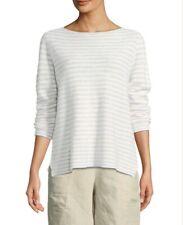 Eileen Fisher Striped Long-Sleeve Organic Linen/Cotton Sweater New