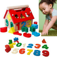 Wooden Toy Toys House Number Kids Children Educational Intellectual Blocks