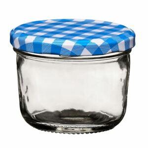 Jar, Clear Glass/Blue Gingham Lid, 150ml
