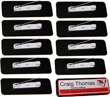 20 printed NAME BADGES, work, club name & logo post free 64x19 colour pin back