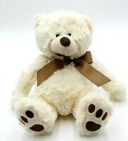 "GANZ 7"" Jesse H14321 Soft White Teddy Bear w/Brown Bow Plush Toy Stuffed Animal"