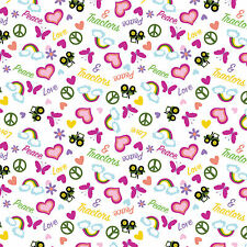 JOHN DEERE FABRIC TOSSED PEACE LOVE TRACTORS FABRIC PINK HEARTS BTY CP64083 NEW