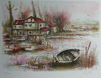 Olivier Mas - Das Boot Auf Teich - Lithografie Originell Unterzeichnet #250ex
