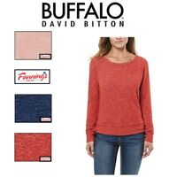 SALE! Buffalo David Bitton Women Cozy Top Long Sleeve Crewneck Tee COLOR VARIETY