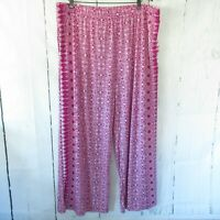 New Attitudes By Renee 2X Pink Como Jersey Printed Wide Leg Pants Plus Size QVC