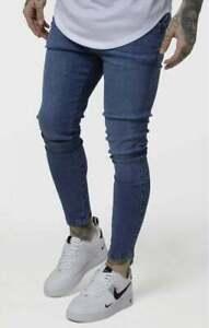"SikSilk Mens Unrip Skinny Denim Jeans - Midstone BLUE - Size L (34"") NEW"