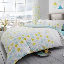 GEO TRIANGLE DOUBLE DUVET COVER & PILLOWCASE SET BEDDING TEAL REVERSIBLE