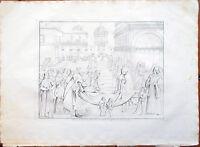 ✅Stampa incisione 1850s Affresco di Bernardino Pinturicchio, di Raffaello CXCVII