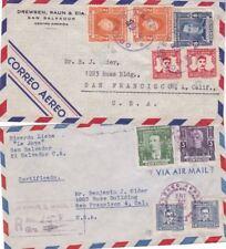 1948 El Salvador #591,#602,#C107(2),#597(2),#600,#C102(2) on lot of 2 covers *d