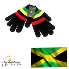 GUANTI JAMAICA BOB MARLEY WINTER NERO TAGLIA UNICA UNISEX GLOVES BLACKS RASTAFAR