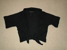 Women's Black Knit Short Sleeved Cropped Cardigan With Front Tie Size 10