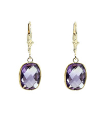 14K Yellow Gold Dangle Earrings With Cushion Cut Amethyst Gemstones