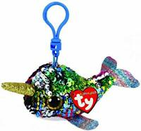 "2019 TY Flippables Sequin 3"" CALYPSO the Narwhal Beanie Boo Key Clip Plush MWMTs"