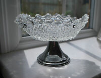 Vintage SOWERBY Hobnail Glass - Nut or Sweet Dish with White Metal Stand     #18