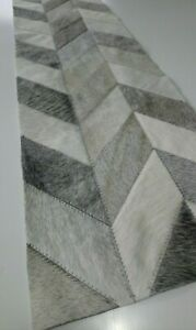 COWHIDE TABLE RUNNER PATCHWORK CARPET AREA Leather RUG Cow hide GRAY CHEVRON