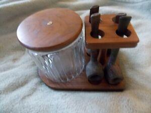 Vintage Aztec Glass Tobacco Jar, Wood Rack & 4 Briar Bark Pipes Denmark, Italy++