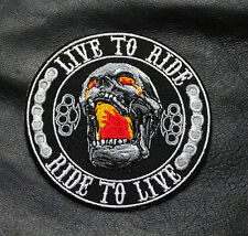 SKULL LIVE TO RIDE RIDE TO LIVE BRASS KNUCKLES IRON ON OUTLAW MC BIKER  PATCH
