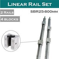 2Pcs SBR25-800mm Rail Shaft CNC Linear Slide + 4Pcs SBR25UU Bearing Block CNC