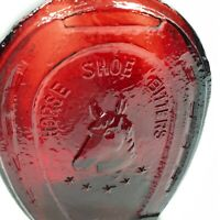 Vintage Red Glass Bottle Horse Shoe Bitters Medicine Co Collinsville IL
