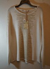 CHELSEA & VIOLET NWT L $98 Ivory & Gold Ribbed Geometric Crewneck Sweater