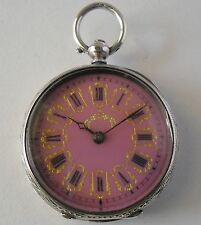 Rare Fancy PINK Dial Pocket Watch / Antiguo Plata Reloj Bolsillo con Esfera ROSA