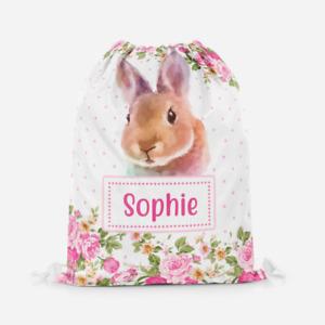 Personalised Bunny Rabbit Roses Girls Kids PE Swimming School Drawstring Bag